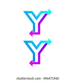 Letter Y logo design template. Arrow creative sign