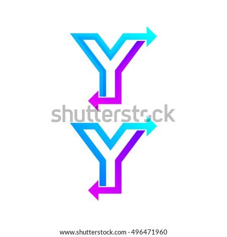 letter y logo design template arrow creative sign