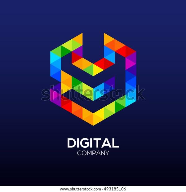 Letter y Logo Design.Hexagon logo,Polygon logo,Digital,Media