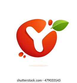 Letter Y logo in fresh juice splash with green leaves. Vector elements for natural application, ecology presentation, business card or cafe posters.