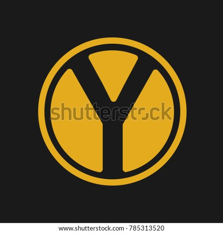 Letter Y Logo With Gold Color And Circe