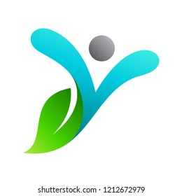 letter y logo with people and leaf shape, initial letter y for health care logo template,