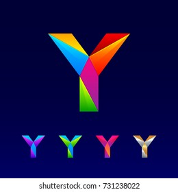 Letter Y logotype design set made of 3d, Origami, Geometric and Polygon with Glossy colorful and gradient, Rainbow Vibrant Colors for your Corporate identity vector design template