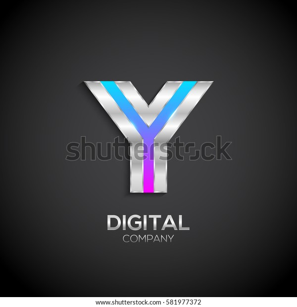 Letter Y with metallic texture,3d Glossy, Digital and Technology, metal texture,  silver, steel and realistic shadow for logo, Vector illustration