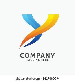 Letter Y modern logo design. initial Y logo inspiration