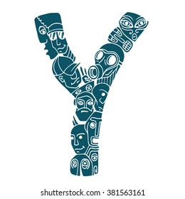 Letter Y. People crowd. Isolated alphabet design. Hand drawn vector illustration in cartoon style