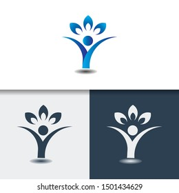 Letter Y People Logo. modern design. vector illustration for yoga, women, woman with lotus.