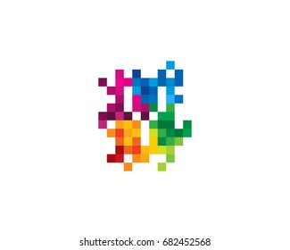 Letter Y Pixel Color Mosaic Icon Logo Design Element