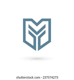 Letter Y shield logo icon design template elements