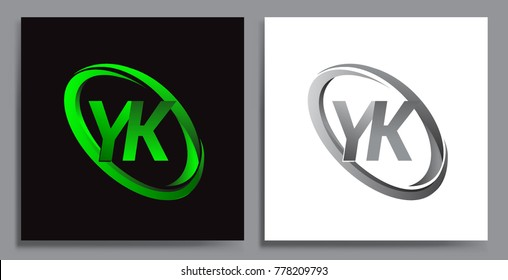 letter YK logotype design for company name colored Green swoosh and grey. vector set logo design for business and company identity.