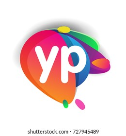 Letter YP logo with colorful splash background, letter combination logo design for creative industry, web, business and company.