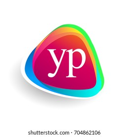 Letter YP logo in triangle shape and colorful background, letter combination logo design for company identity.