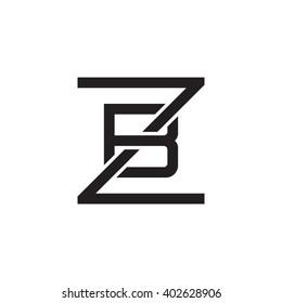 letter Z and B monogram square shape logo black