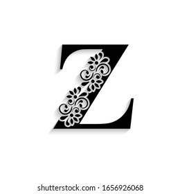 letter Z. Black flower alphabet.  Beautiful capital letter with shadow