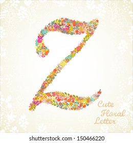 The letter Z. Bright floral element of colorful alphabet made from flowers, petals, hearts and twigs. Summer floral ABC element in vector