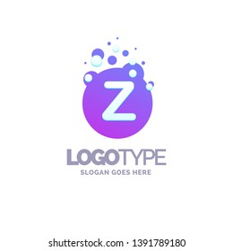 Letter Z Bubbles Logo Purple Template. Vector Brand Name Design