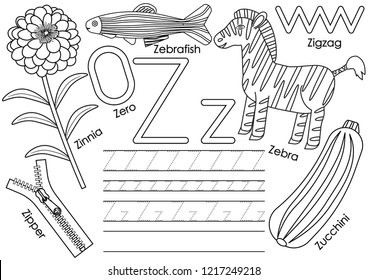 Letter Z. Education for children. Learning English alphabet with writing practice. Coloring book. Vector illustration.