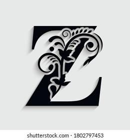 letter Z  flower  ornament. Vector logo. Monogram alphabet. Beautiful floral capital letters