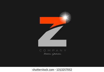 letter z in grey orange color alphabet logo icon design suitable for a company or business
