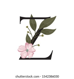 letter Z logo. beauty font logo with leaf and flower.