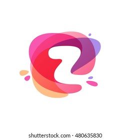 Letter Z logo at colorful watercolor splash background. Vector elements for posters, t-shirts and cards.