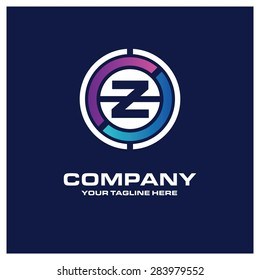 Letter Z logo - Creative Circle Logo - Place for Company name and tag line . Business Icon - vector illustration