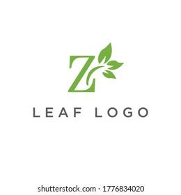 Letter Z logo and leaves for medical health