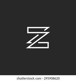 Letter Z logo mockup monogram overlapping style business card ZZ emblem