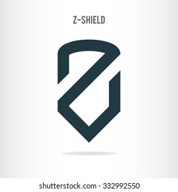 Letter Z logo template. The letter Z in the form of shield