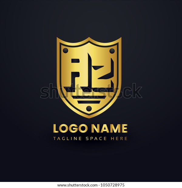 Letter A and Letter Z Logo Vector with Gold Emblem Shield Design.