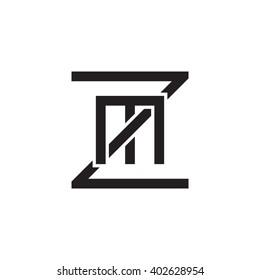 letter Z and M monogram square shape logo black