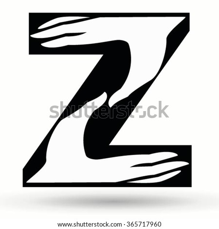 Letter Z Made Hands Hand Drawn Stock Vector Royalty Free 365717960