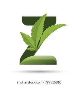 letter Z. medical marijuana, cannabis green leaf logo. vector illustration.