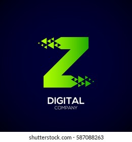 Letter Z Pixel logo, Triangle, Arrow and forward logo, Green color,Technology and digital logotype