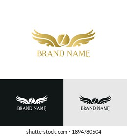 letter Z and wings in luxury and elegant golden style logo design