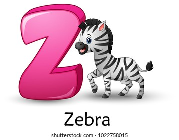 Letter Z is for Zebra cartoon alphabet