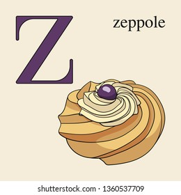 Letter Z with zeppole. Illustrated English alphabet with sweets.