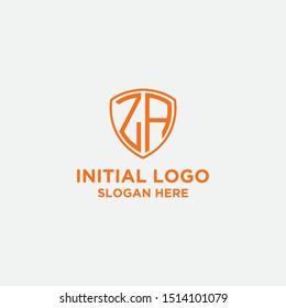 letter ZA shield logo vector template