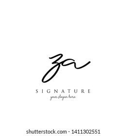 Letter ZA Signature Logo Template - Vector