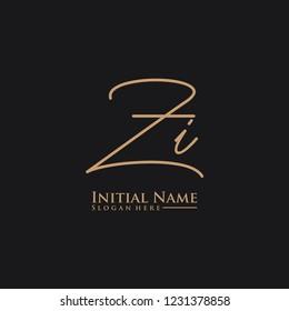 Letter Zi Logo. Initial Letter Design Vector Luxury Colors