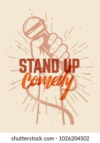 Lettered text stand up comedy. Vector illustration