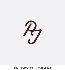 letterhand PJ logo design grey background