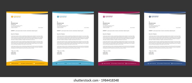 Letterhead Design with Editable Text and Editable shape. Creative Business Letterhead For Corporate Medical Company Profile Layout, Simple, And Clean Print-ready Modern Business Style Design