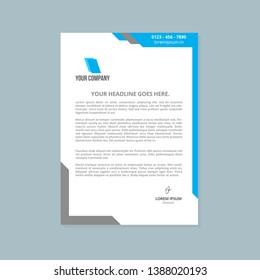 Letterhead Design Flyer Template Stylish Blue Logo Company Business Vector, Company Letterhead Vector Template, Blue Letterhead Design