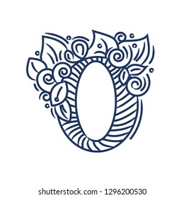 Letterhead O -   Flourish emblem with leaves and flowers isolated on white.