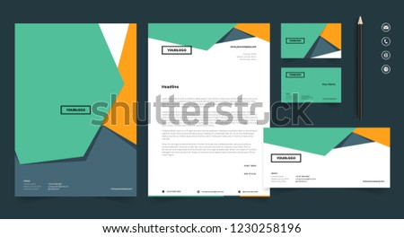 letterhead stationery set design template stock vector royalty free