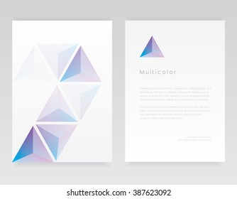 Letterhead template and brochure cover in geometric minimal design with blue and purple triangular shapes pattern