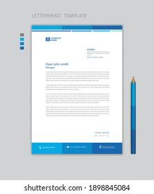 Letterhead template design minimalist Style vector, letterhead design mockup, business advertisement layout, Blue concept background creative design
