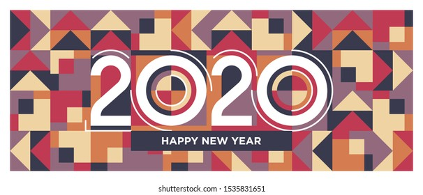 Lettering of 2020 number. Happy new year 2020 typography on geometric pattern background. Banner, brochure & cover design template. Abstract shapes background. Modern art banner. Eps10.