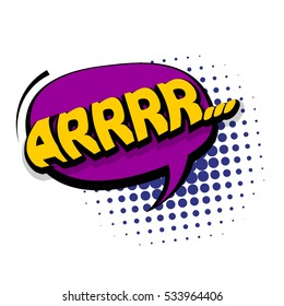 Lettering arr, emotion, irritation, anger. Comic text sound effects. Vector bubble icon speech phrase, cartoon exclusive font label tag expression, sounds illustration. Comics book balloon.